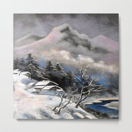 Winter village in the mountains Metal Print