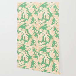 Tropical Palm Leaves Monstera and Hibiscus Jungle Green Coral Peach Wallpaper