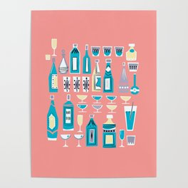 Cocktails And Drinks In Aquas and Pinks Poster