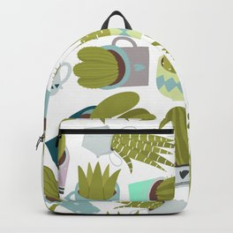 Abstract pink coral green floral cactus plants Backpack