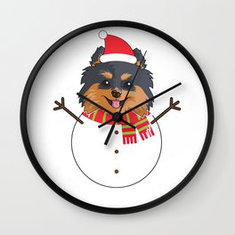 dogsnowman pomeranian Wall Clock
