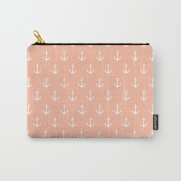 Coral white trendy modern nautical anchor pattern Carry-All Pouch