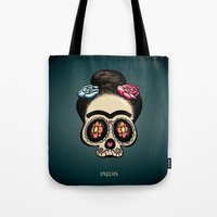 frida Tote Bags featuring Frida by mangulica illustrations