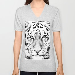 White Tiger Print Unisex V-Neck