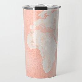 Pink Rose Gold World Map Travel Mug