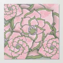 Pretty Pink Flower Collage Canvas Print