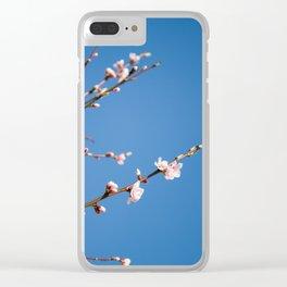 Pêcher sur fond bleu Clear iPhone Case