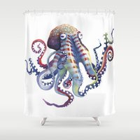 octopus Shower Curtains featuring Octopus by Sam Nagel