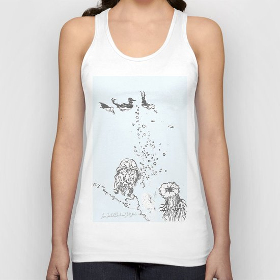 Two Tailed Duck and Jellyfish Pale Blue Unisex Tank Top
