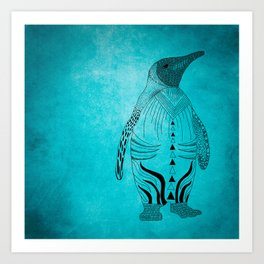 pinguin blue Art Print