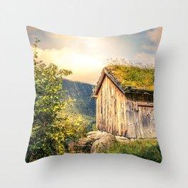 Old Mountain Cabin Throw Pillow