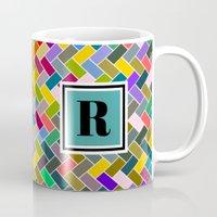 monogram Mugs featuring R Monogram by mailboxdisco
