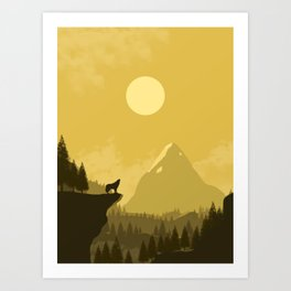 2D Wolf Amongst Mountain Ranges and Sunset - Yellow Art Print