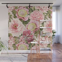 Vintage & Shabby Chic Floral Peony & Lily Flowers Watercolor Pattern Wall Mural