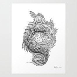 fish, eyes and shields Art Print
