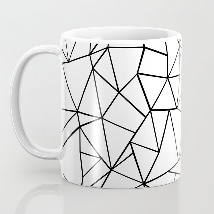 Abstraction Outline Grid on Side White Coffee Mug