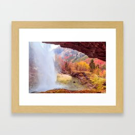 Waterfall in an autumn day in the italian alps Framed Art Print