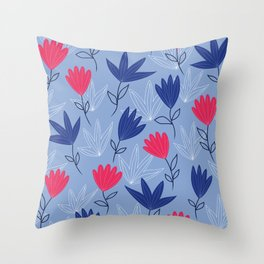 Dreams of summer -  Floral pattern on blue Throw Pillow