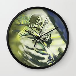 Old man on bench Wall Clock