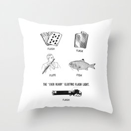 Flush Flask Flute Fish Flash Fun Throw Pillow