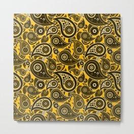 Amber Yellow Paisley Pattern Metal Print