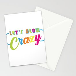 """Colorful Rainbow Flag Gay Pride T-shirt Design """"Let's Glow Crazy"""" Rainbow Flag Colors Glowing Stationery Cards"""