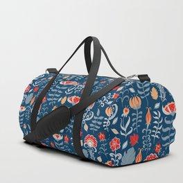 Birds and flowers. Floral ornament. Folk art. Duffle Bag