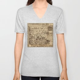 Map of New England by William Hubbard (1677) Unisex V-Neck