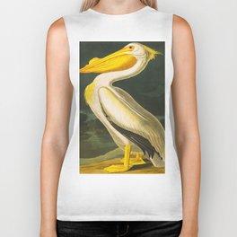 White Pelican John James Audubon Scientific Vintage Illustrations Of American Birds Biker Tank
