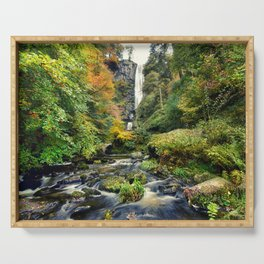 Pistyll Rhaeadr Waterfall , North Wales, United Kingdom, landscape Photography Serving Tray