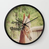 scripture Wall Clocks featuring Job 39: 19 Horse Scripture by KimberosePhotography