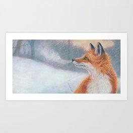 Red Fox Snowflakes Art Print