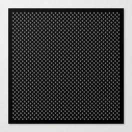 Tiny Paw Prints Grey on Black Pattern Canvas Print