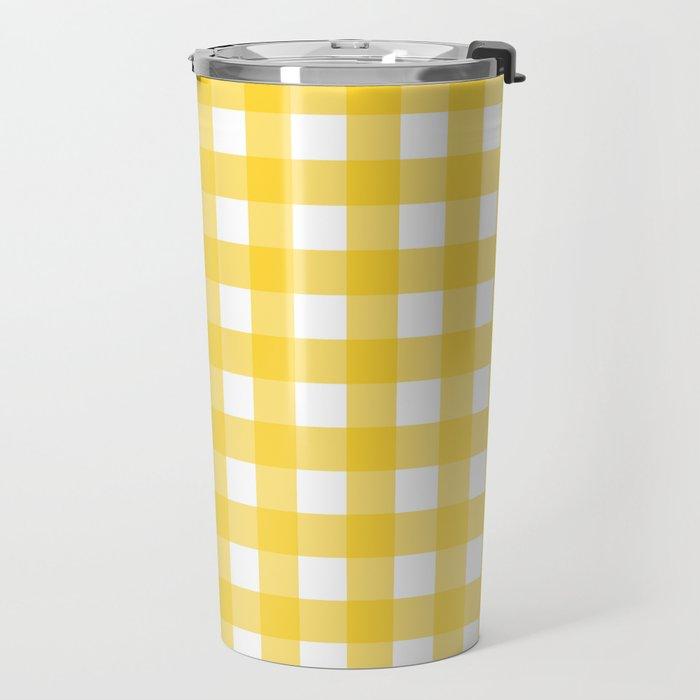 White & Yellow Gingham Pattern Travel Mug