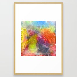 Watercolor multicolored texture, abstract paint stains, crumpled paper, wrinkles Framed Art Print