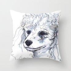 Poodle (portrait for my mom), watercolor Throw Pillow
