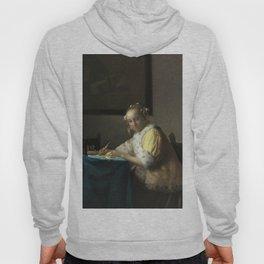 A Lady Writing Oil Painting by Johannes Vermeer Hoody