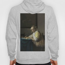 A Lady Writing Oil Painting by Johannes Vermeer Hoody