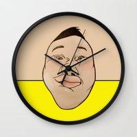 he man Wall Clocks featuring HE HE HE  by RUEI