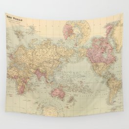 Vintage Map of The World (1901) Wall Tapestry