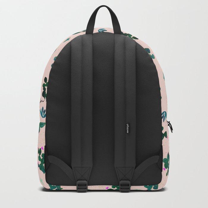 Pink Dusk Moon Cactus Backpack