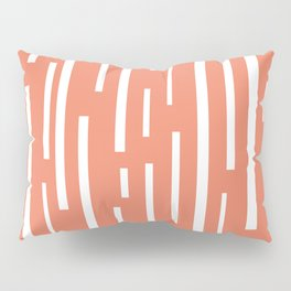 Interrupted Lines Mid-Century Modern Retro Pattern in White and Coral Blush Pink Pillow Sham