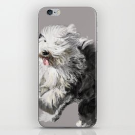 Old English Sheepdog On the Move iPhone Skin
