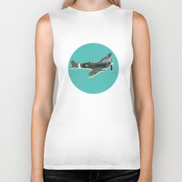 aviation Biker Tanks featuring A Brief History of Aviation by Simon Alenius