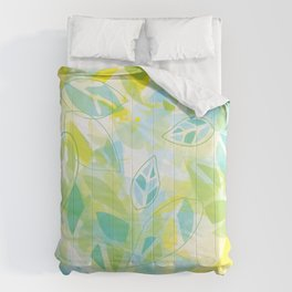 watercolor inspired leaves, spring palette Comforters