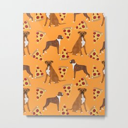 Boxer pizza party cute junk food cheese dog art pet portrait boxer dog breed must have gifts for dog Metal Print