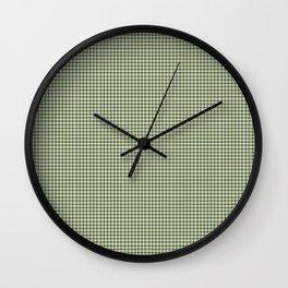 Dark Olive Green Gingham Wall Clock