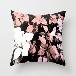 Pink and Black Poinsettia Christmas Holiday Flowers Throw Pillow