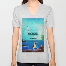 When We Are In Love Inspirational Quote With Blue Ocean Flying Birds Painting Unisex V-Neck