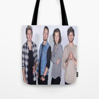 1d Tote Bags featuring New 1D by kikabarros